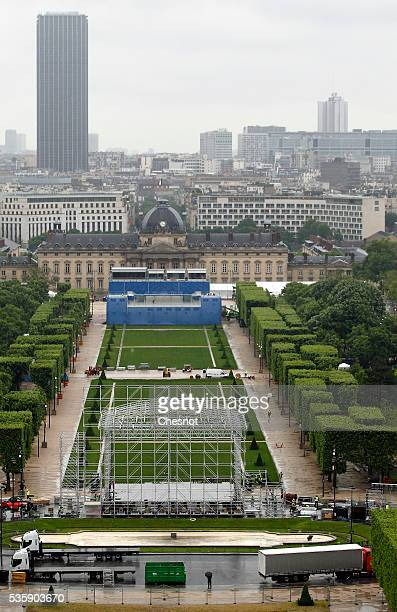 Preparation of the fan zone is seen from the Eiffel tower for the UEFA 2016 European Championship on May 30 2016 in Paris France The Euro 2016 fan...