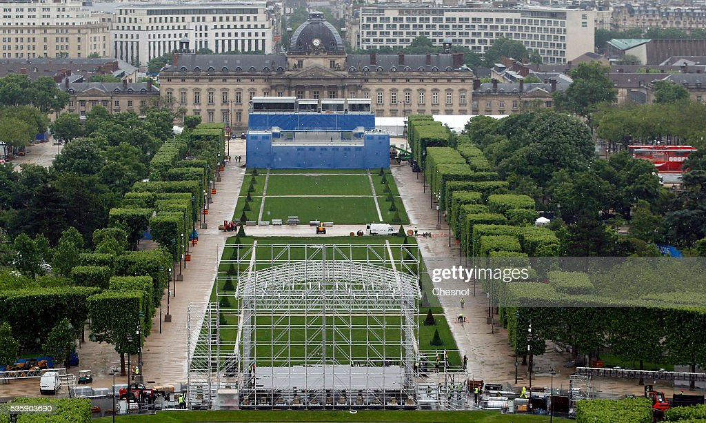 Preparation of the fan zone, is seen from the Eiffel tower for the UEFA 2016 European Championship on May 30, 2016 in Paris, France. The Euro 2016 fan zone in the French capital would be operated under the 'highest standards of security' as it prepares to accommodate over 90,000 football supporters.