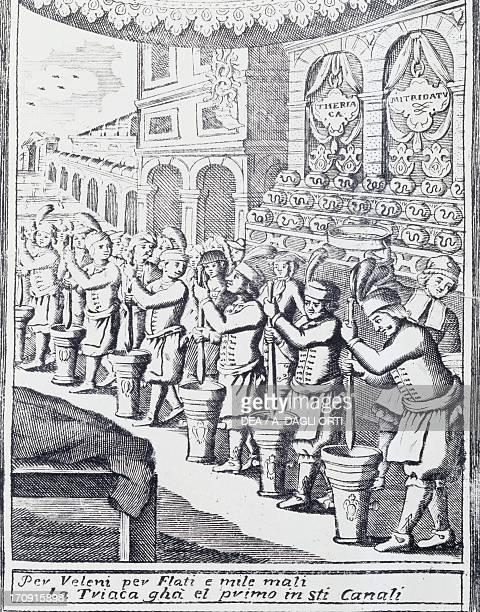 Preparation of treacle Venetian engraving Italy Genoa Pegli Civico Museo Navale