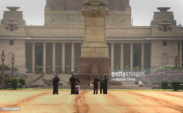 Preparation work in full swing at Rashtrapati Bhavan for the upcoming swearingin ceremony of Prime Minister designate Narendra Modi on May 23 2014 in...