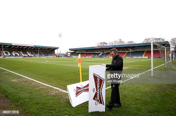 Preparations are made ahead of the Budweiser FA Cup third round match between Rochdale and Leeds United at Spotland Stadium on January 4 2014 in...