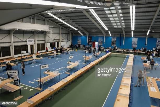 Preparations are made by election staff ahead of the ballot count at Silksworth Community Pool Tennis and Wellness Centre on June 8 2017 in...