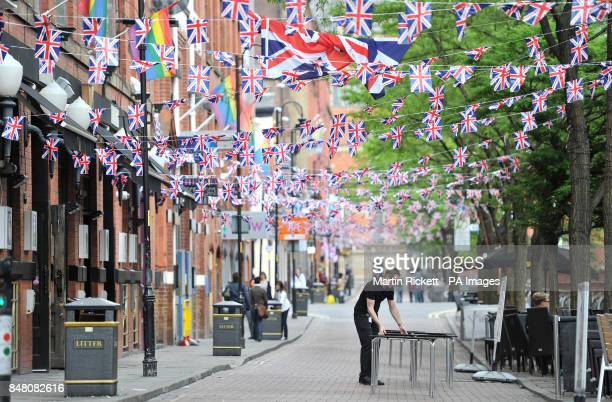 Preparations are made for a Jubilee street party on Canal Street in Manchester