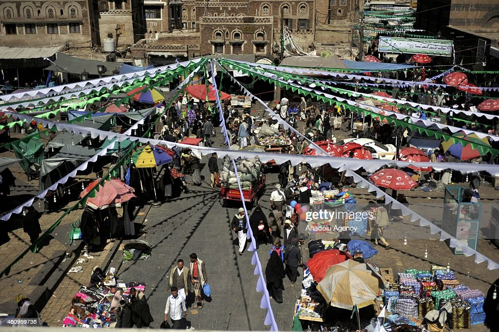Preparations are seen for the 1444th anniversary for the celebration of Mawlid al-Nabi, the holy day of the birthday of the Islam's prophet <a gi-track='captionPersonalityLinkClicked' href=/galleries/search?phrase=Muhammad&family=editorial&specificpeople=3955327 ng-click='$event.stopPropagation()'>Muhammad</a>, in Houthi controlled capital Sanaa's ancient region in Yemen on January 01, 2015.