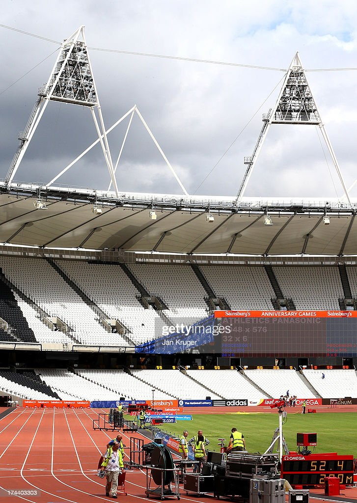 Preparations continue ahead of the Sainsbury's Anniversary Games - IAAF Diamond League at The Olympic Stadium on July 25, 2013 in London, England.