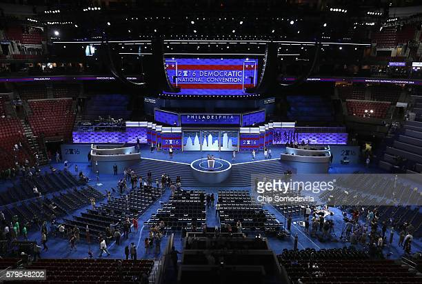 Preparations continue for Democratic National Convention at the Wells Fargo Center on July 24 2016 in Philadelphia Pennsylvania The DNC starts Monday...