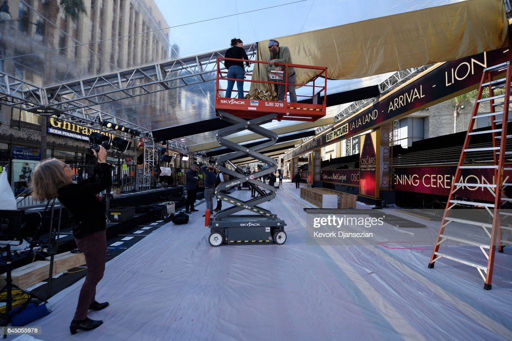 Preparations continue for the 89th Academy Awards at Hollywood and Highland Center on February 24, 2017 in Los Angeles, California.