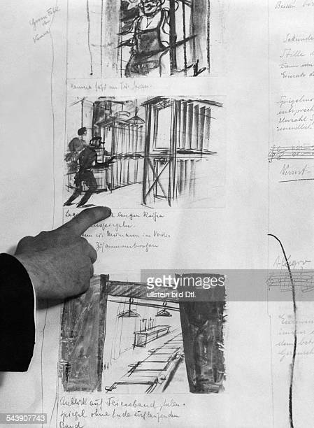 Preparations for filming Creation of a storyboard Painted scenes with director's notes ca 1932 Photographer Weltrundschau Erich ComerinerVintage...