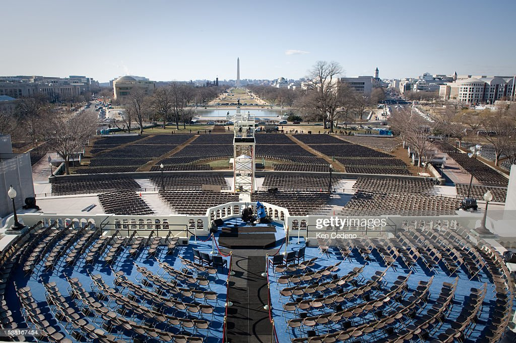 Preparations for the swearing in of America's 44th president Barack Obama in Washington DC
