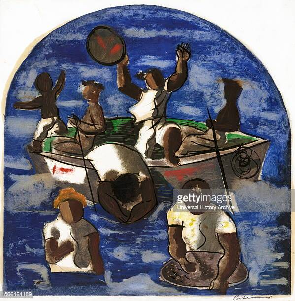 Preparatory drawing for 'Mining for Gold' mural at the Hispanic Division in the Library of Congress Washington DC By Cândido Portinari 19031962...