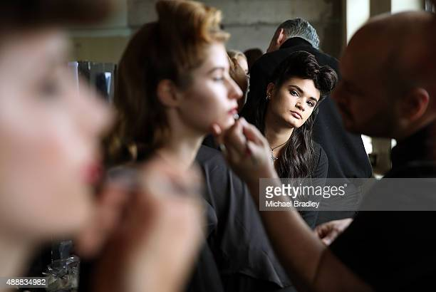 prepare backstage ahead of the Britomart 'A Taste of Fashion' Progressive Lunch at the Britomart Precinct on September 18 2015 in Auckland New Zealand