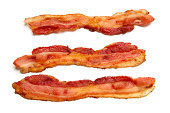 Prepared bacon isolated on white background.