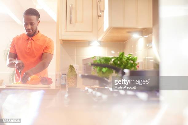 Preparing a healthy meal in the kitchen