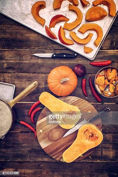 Preparar y cocinar fresca Pumpkins