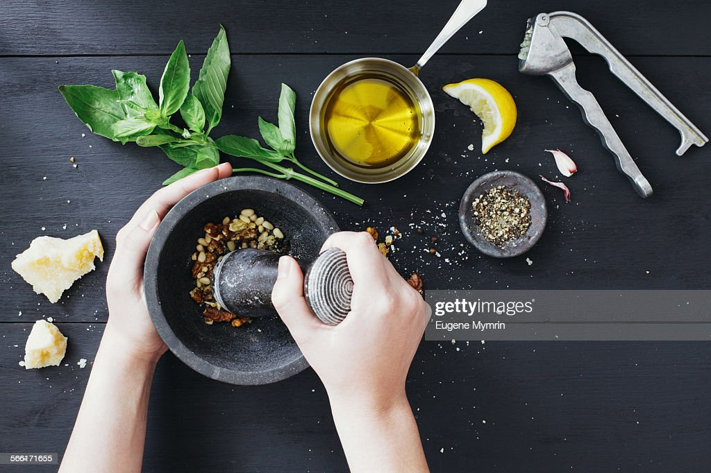 Preparing basil pesto sauce