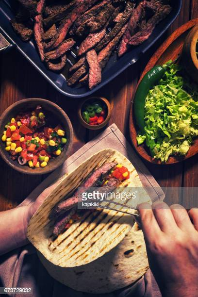 Preparing Beef Meat Tacos