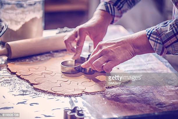 Preparing Christmas Cookies in Domestic Kitchen
