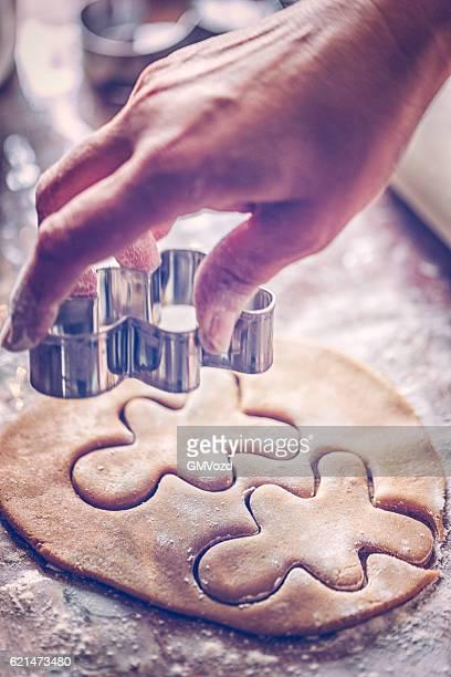 Preparing Christmas Cookies in Domestic Kitchen
