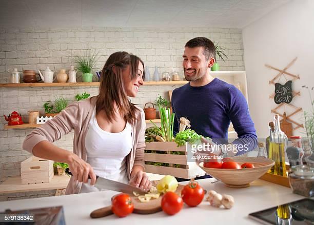 Preparing Family Breakfast In Kitchen