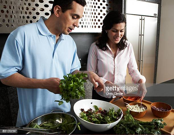 Preparing food in modern kitchen