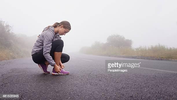 Preparing for her run