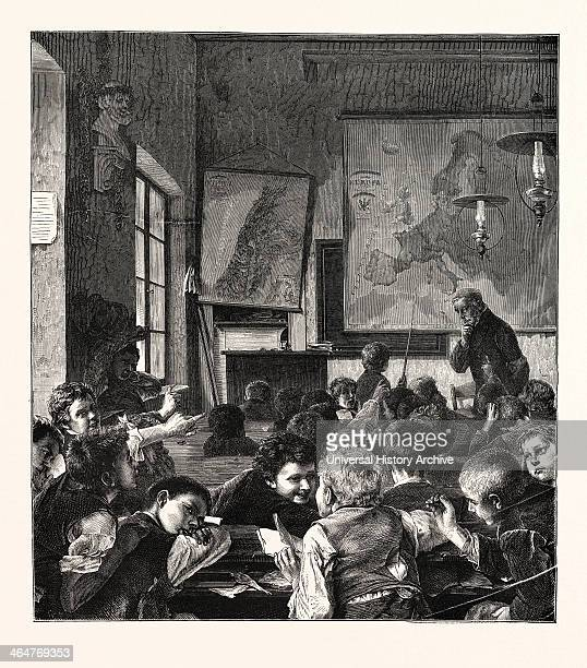 Preparing For The Christmas Holidays The Interrupted Lesson Engraving 1876