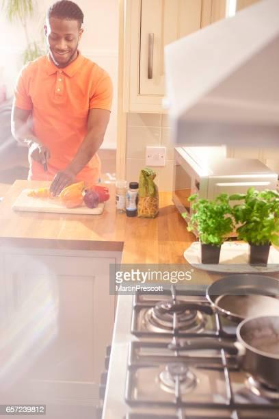 Preparing his healthy meal