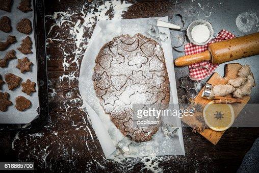 Preparing homemade Christmas cookies : Stock Photo