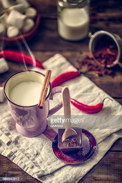 Preparing Hot Chili Chocolate Bar with Spoon