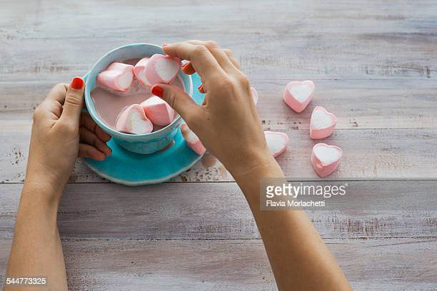 Preparing hot chocolate with marshmallows