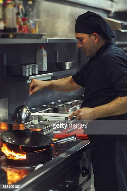 Preparing Meal In A Wok.