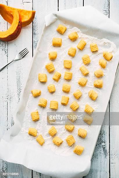 Preparing pumpkin gnocchi