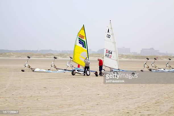 Preparing sand yachts