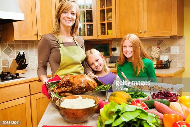 Preparing Thanksgiving and Christmas Dinner in Family Kitchen Horizontal