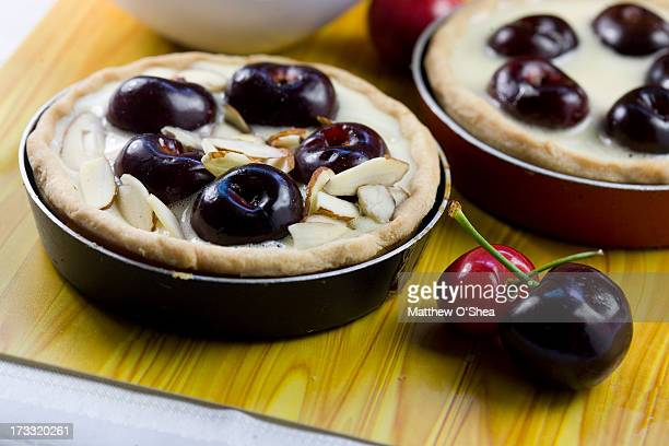 Preparing to bake almond cherry pie