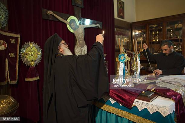 Preperations are made ahead of a service for Feast of the Epiphany at the Greek Orthodox Church of St Michael the Archangel on January 08 2017 in...