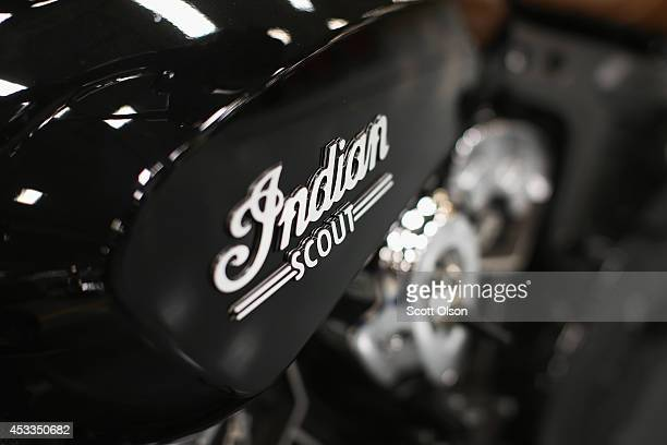 A preproduction Indian Scout motorcycle sits along the assembly line at the Polaris Industries factory on August 8 2014 in Spirit Lake Iowa Polaris...