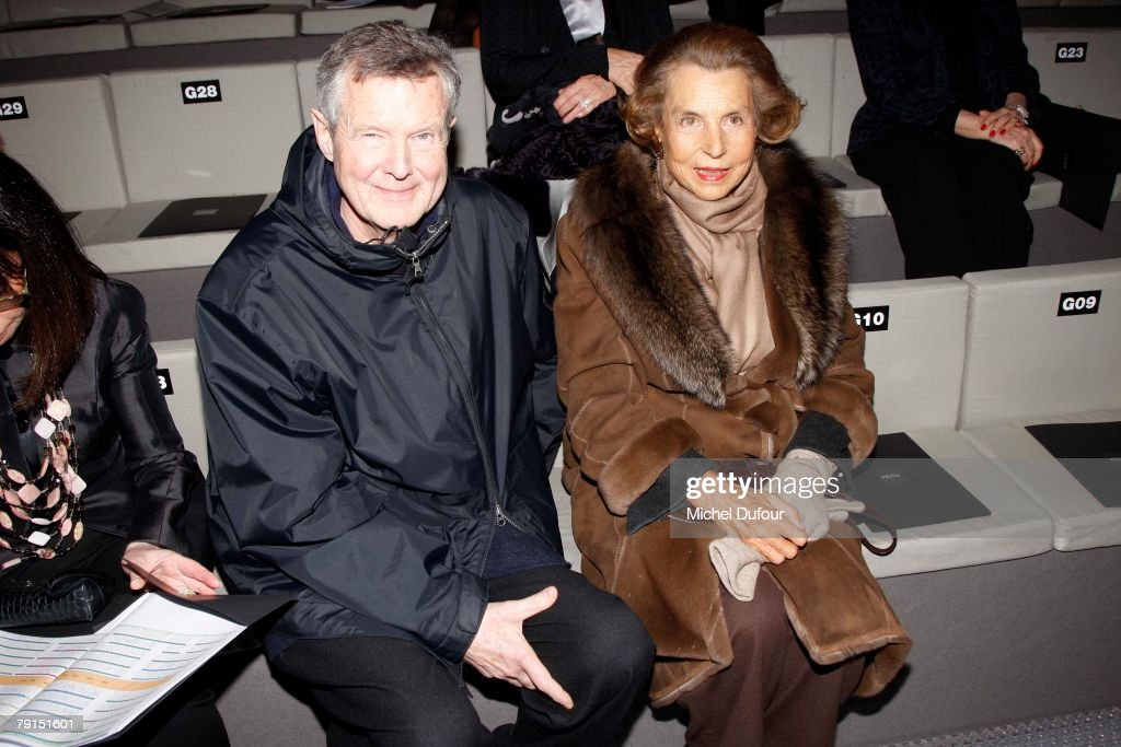 Prer Spook and Liliane Betancourt sit in the front row of the Giorgio Armani Prive Spring/Summer 2008 Haute Couture Collection Show January 21, 2008 in Paris, France.