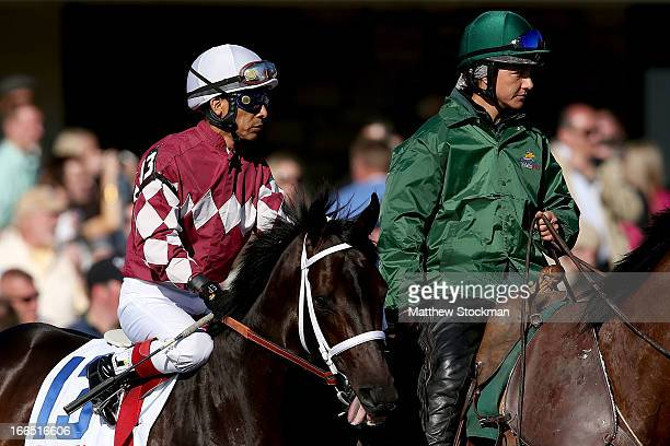 Prerace favorite Rydiluc riden by Edgra Prado is brought to the starting gate during the 89th Toyota Blue Grass Stakes at Keenland Race Course on...