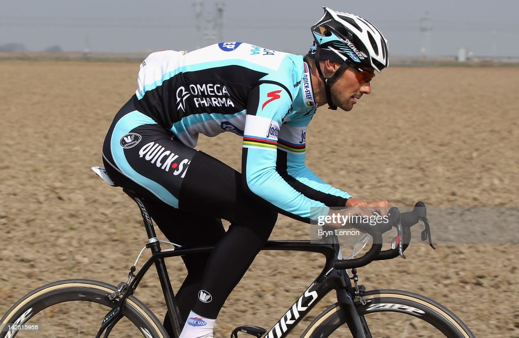 Pre-race favourite <a gi-track='captionPersonalityLinkClicked' href=/galleries/search?phrase=Tom+Boonen&family=editorial&specificpeople=221255 ng-click='$event.stopPropagation()'>Tom Boonen</a> of Belgium and Quick Step Omega Pharma rideso n the cobbles during training for the 2012 Paris - Roubaix Cycle Race on April 6, 2012 in Roubaix, France.
