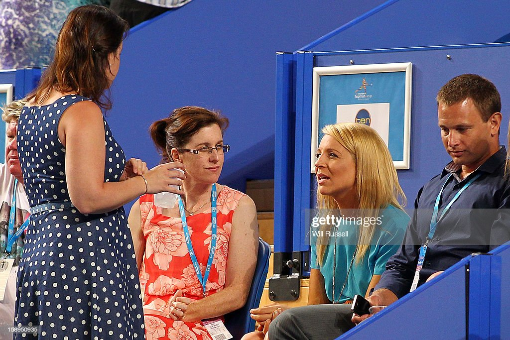 TV prersenter Carrie Bickmore is seen in the crowd during day seven of the Hopman Cup at Perth Arena on January 4, 2013 in Perth, Australia.