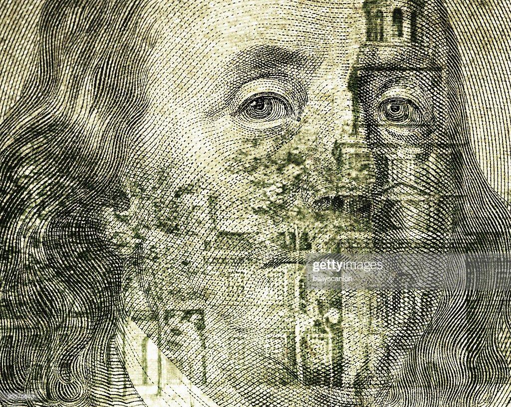 Pres. Benjamin Franklin on One Hundred Dollar Bill : Stock Photo