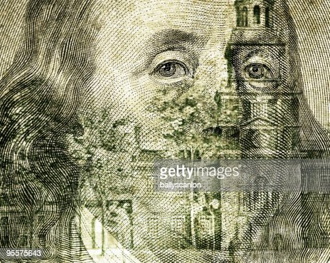 Pres. Benjamin Franklin on One Hundred Dollar Bill : Stock Photo