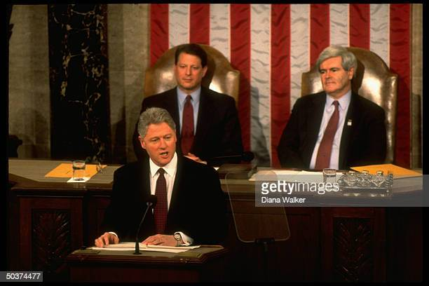 Pres Bill Clinton delivering his State of Union address framed by VP Al Gore House Speaker Newt Gingrich on Capitol Hill