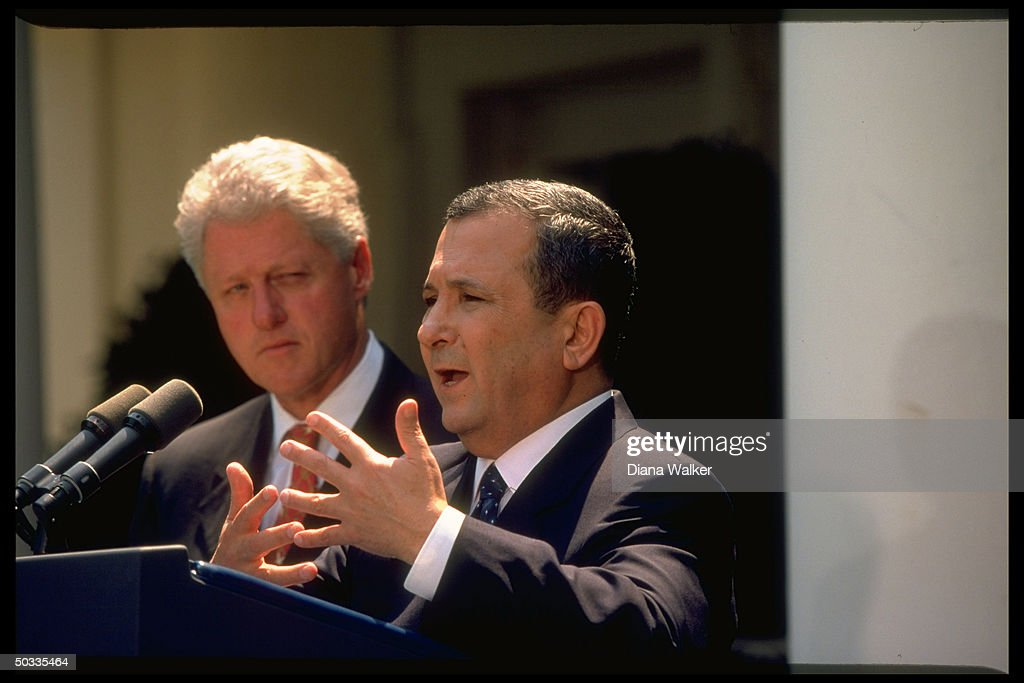 Pres. <a gi-track='captionPersonalityLinkClicked' href=/galleries/search?phrase=Bill+Clinton&family=editorial&specificpeople=67203 ng-click='$event.stopPropagation()'>Bill Clinton</a> (L) listening to Israeli PM Ehud Barak speak during their White House mtg.
