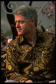 US Pres Bill Clinton sporting batik shirt among ldrs attending AsiaPacific Economic Cooperation summit