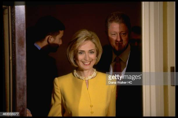 Pres Bill Hillary Rodham Clinton VP Al Gore at White House childcare event during which Pres emphatically denied having affair with former White...