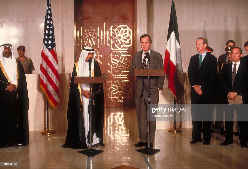 Pres Bush Kuwaiti Emir Jaber alAhmad Al Sabah at podiums w State Secy Baker re mtgs on gulf crisis at AlHamra guest palace