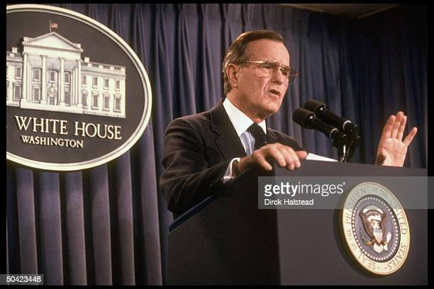 Pres Bush speaking holding WH press conf re US invasion of Panama