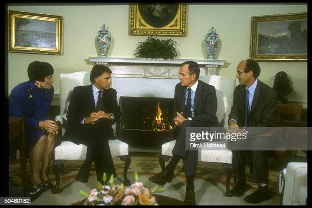 Pres Bush w Spanish PM Felipe Gonzalez flanked by interpreters in WH Oval Office